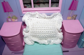 Fashion Doll Ruffled Pillow Free Crochet Pattern