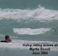 Haley Riding Waves at Myrtle Beach