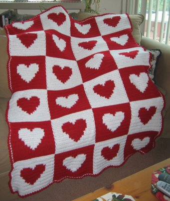Heart Crocheted Afghan made by Christina Terzian