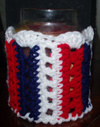 Patriotic Candle Sleeve Free Crochet Pattern