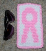 Pink Ribbon Eye Glass Case Crochet Pattern