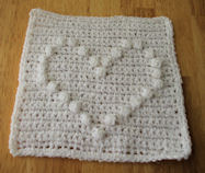 Puff Stitch Heart Afghan Square Crochet Pattern