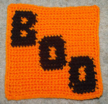 Row Count Boo Afghan Square Free Crochet Pattern