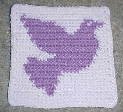 Row Count Dove Afghan Square Crochet Pattern