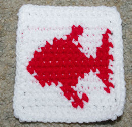 Row Count Fish Coaster Free Crochet Pattern