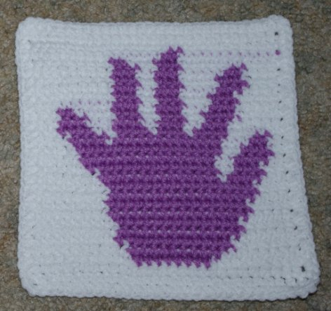 Row Count Handprint Afghan Square Crochet Pattern
