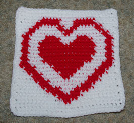 Row Count Heart in a Heart Afghan Square Free Crochet Pattern