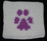 Row Count Paw Print Afghan Square Crochet Pattern