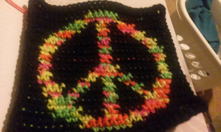Row Count Peace Sign Afghan Square Crochet Pattern (Rachel's Photo)