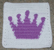 Row Count Princess Crown Afghan Square Free Crochet Pattern